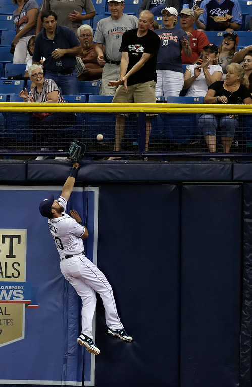 . Tampa Bay Rays right fielder Steven Souza Jr. can\'t make the catch on a triple by Detroit Tigers\' Nicholas Castellanos during the first inning of a baseball game Wednesday, April 19, 2017, in St. Petersburg, Fla. (AP Photo/Chris O\'Meara)