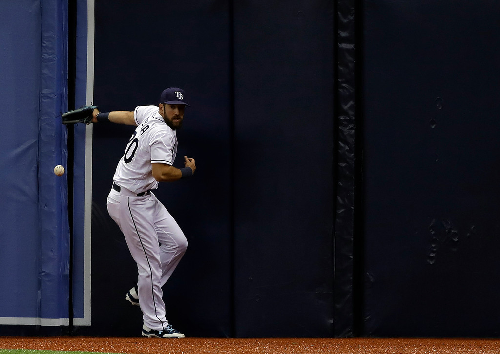 . Tampa Bay Rays right fielder Steven Souza Jr. can\'t get a triple by Detroit Tigers\' Nicholas Castellanos during the first inning of a baseball game Wednesday, April 19, 2017, in St. Petersburg, Fla. (AP Photo/Chris O\'Meara)