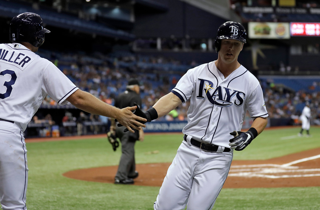 . Tampa Bay Rays\' Corey Dickerson, right, shakes hands with Brad Miller after scoring on an RBI single by Evan Longoria off Detroit Tigers starting pitcher Jordan Zimmermann during the first inning of a baseball game Wednesday, April 19, 2017, in St. Petersburg, Fla. (AP Photo/Chris O\'Meara)