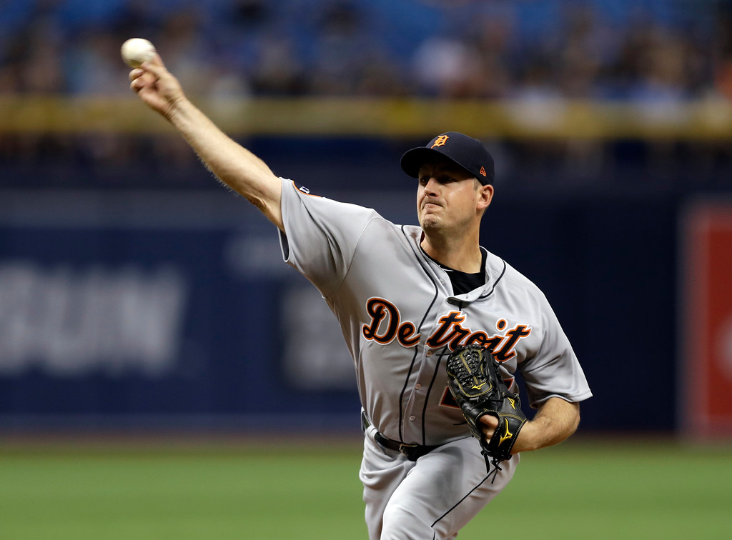 . Detroit Tigers starting pitcher Jordan Zimmermann delivers to the Tampa Bay Rays during the first inning of a baseball game Wednesday, April 19, 2017, in St. Petersburg, Fla. (AP Photo/Chris O\'Meara)
