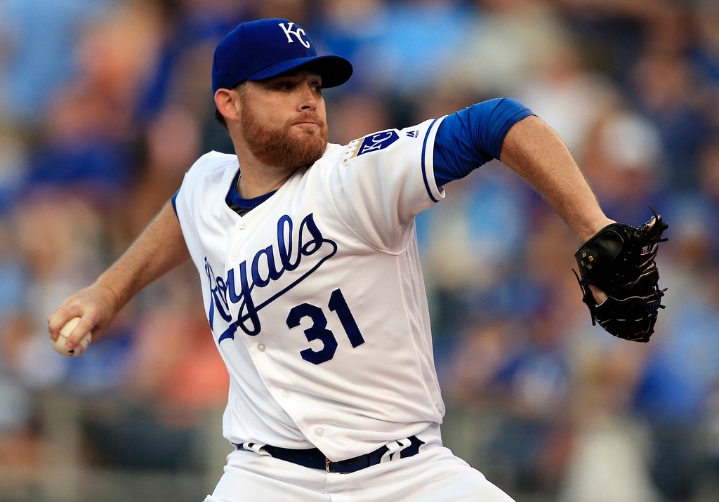 . Kansas City Royals starting pitcher Ian Kennedy winds up during the first inning of the team\'s baseball game against the Detroit Tigers at Kauffman Stadium in Kansas City, Mo., Wednesday, May 31, 2017. (AP Photo/Orlin Wagner)