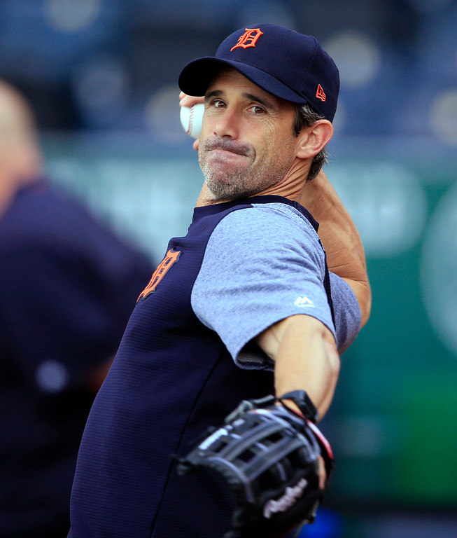 . Detroit Tigers manager Brad Ausmus plays catch before the team\'s baseball game against the Kansas City Royals at Kauffman Stadium in Kansas City, Mo., Wednesday, May 31, 2017. (AP Photo/Orlin Wagner)