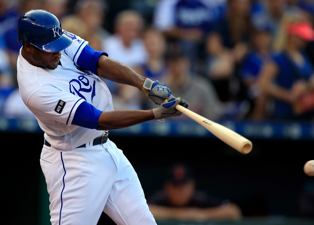 . Kansas City Royals\' Lorenzo Cain doubles off Detroit Tigers starting pitcher Matthew Boyd during the first inning of a baseball game at Kauffman Stadium in Kansas City, Mo., Wednesday, May 31, 2017. (AP Photo/Orlin Wagner)