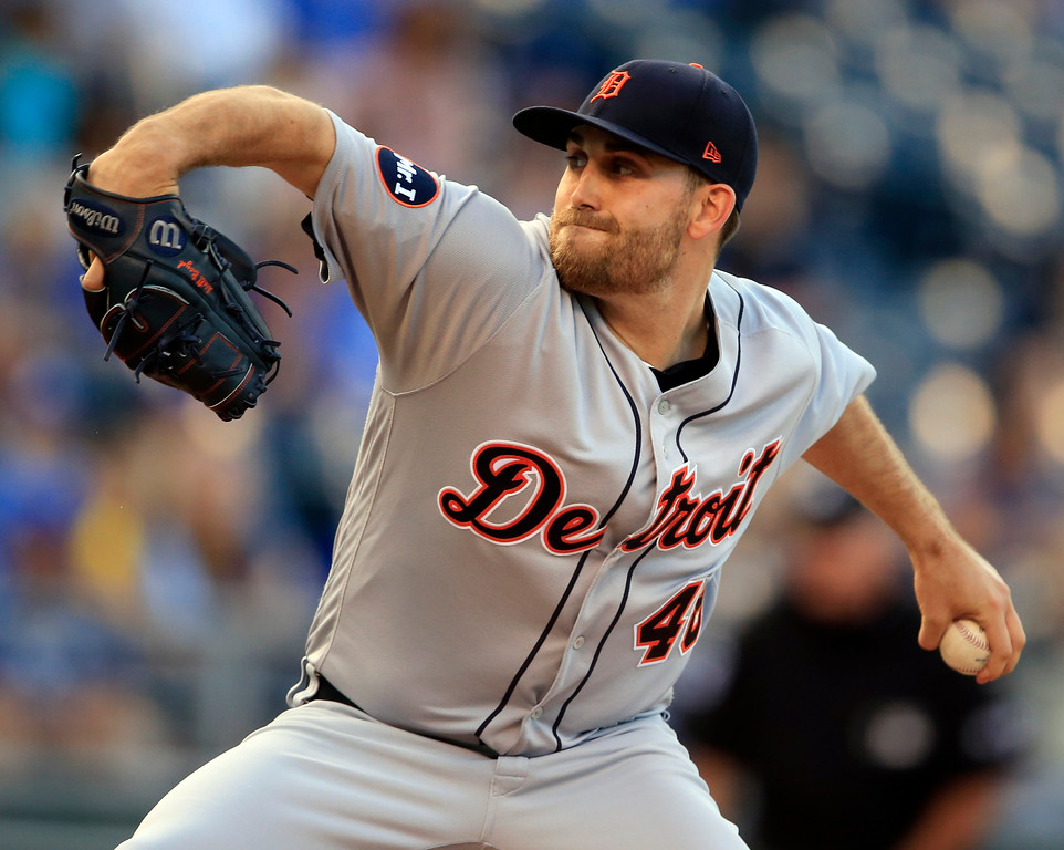 . Detroit Tigers starting pitcher Matthew Boyd delivers to a Kansas City Royals batter during the first inning of a baseball game at Kauffman Stadium in Kansas City, Mo., Wednesday, May 31, 2017. (AP Photo/Orlin Wagner)