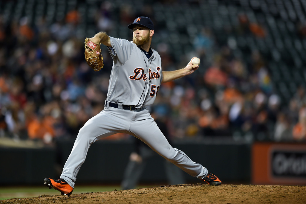 . Detroit Tigers pitcher Kyle Ryan delivers against the Baltimore Orioles in a baseball game, Thursday, May 12, 2016, in Baltimore. (AP Photo/Gail Burton).