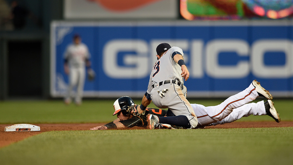 . Baltimore Orioles\' Joey Rickard, left, is tagged out on a steal attempt by Detroit Tigers second baseman Ian Kinsler in the third inning of a baseball game, Friday, May 13, 2016, in Baltimore. (AP Photo/Gail Burton)