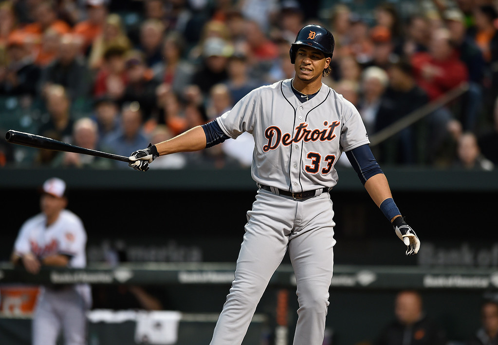 . Detroit Tigers\' Steven Moya reacts after striking out against the Baltimore Orioles in a baseball game, Thursday, May 13, 2016, in Baltimore. (AP Photo/Gail Burton)2
