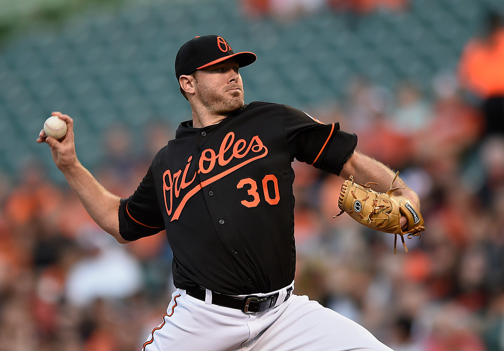 . Baltimore Orioles pitcher Chris Tillman delivers against the Detroit Tigers in the first inning of a baseball game, Friday, May 13, 2016, in Baltimore. (AP Photo/Gail Burton)