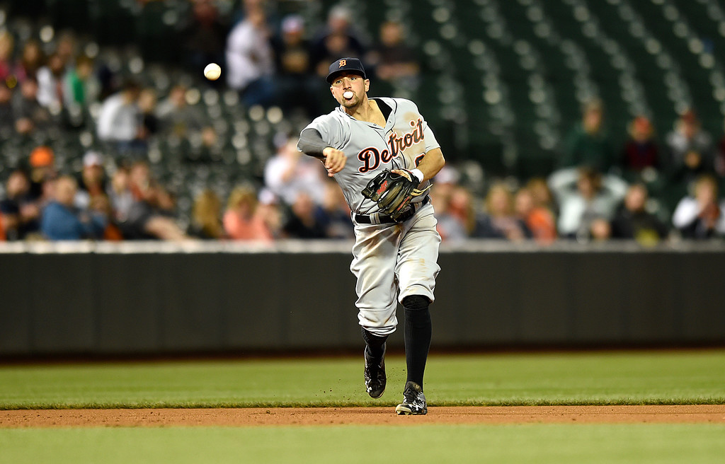 . Detroit Tigers third baseman Nick Castellanos throws to first in a baseball game against the Baltimore Orioles, Thursday, May 12, 2016, in Baltimore. (AP Photo/Gail Burton)