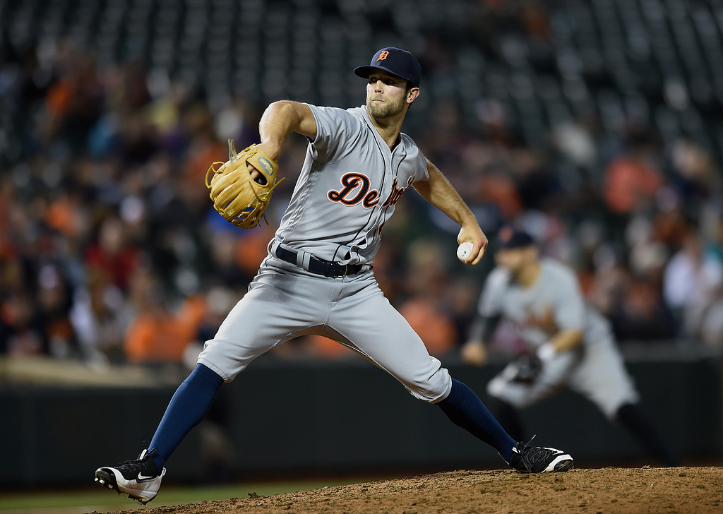 . Detroit Tigers pitcher Daniel Norris throws against the Baltimore Orioles in a baseball game, Thursday, May 12, 2016, in Baltimore. (AP Photo/Gail Burton)