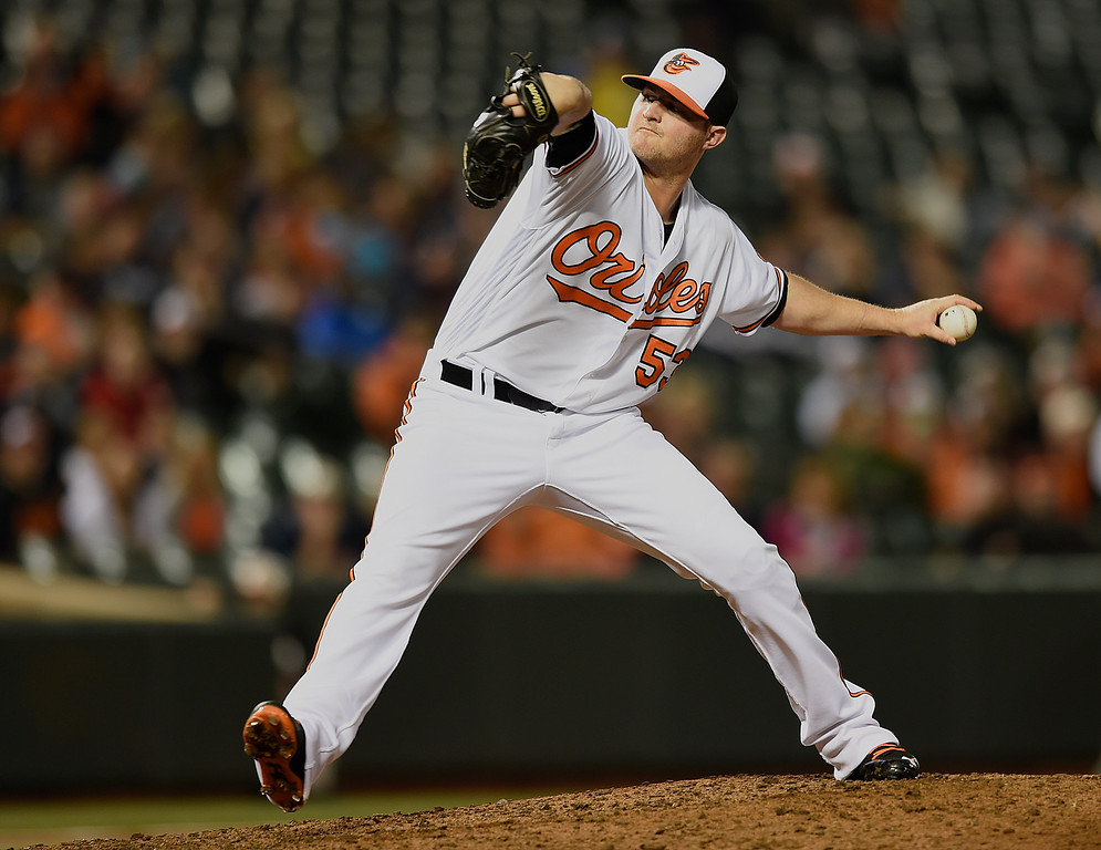 . Baltimore Orioles pitcher Zach Britton delivers against the Detroit Tigers in a baseball game, Thursday, May 13, 2016, in Baltimore. (AP Photo/Gail Burton2