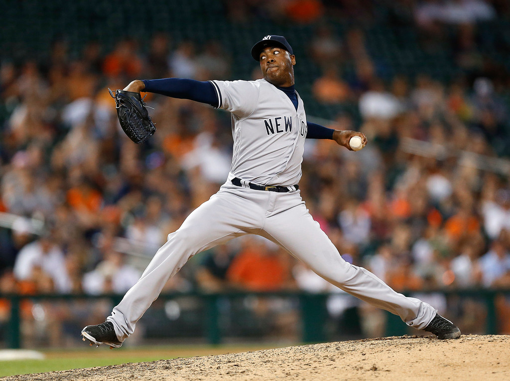 . New York Yankees relief pitcher Aroldis Chapman throws against the Detroit Tigers during the ninth inning of a baseball game in Detroit, Thursday, June 2, 2016. The Yankees won 5-4. (AP Photo/Paul Sancya)