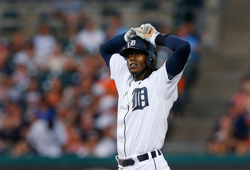 . Detroit Tigers\' Cameron Maybin reacts to being called out at second base on a force out against the New York Yankees during the fifth inning of a baseball game in Detroit, Thursday, June 2, 2016. (AP Photo/Paul Sancya)