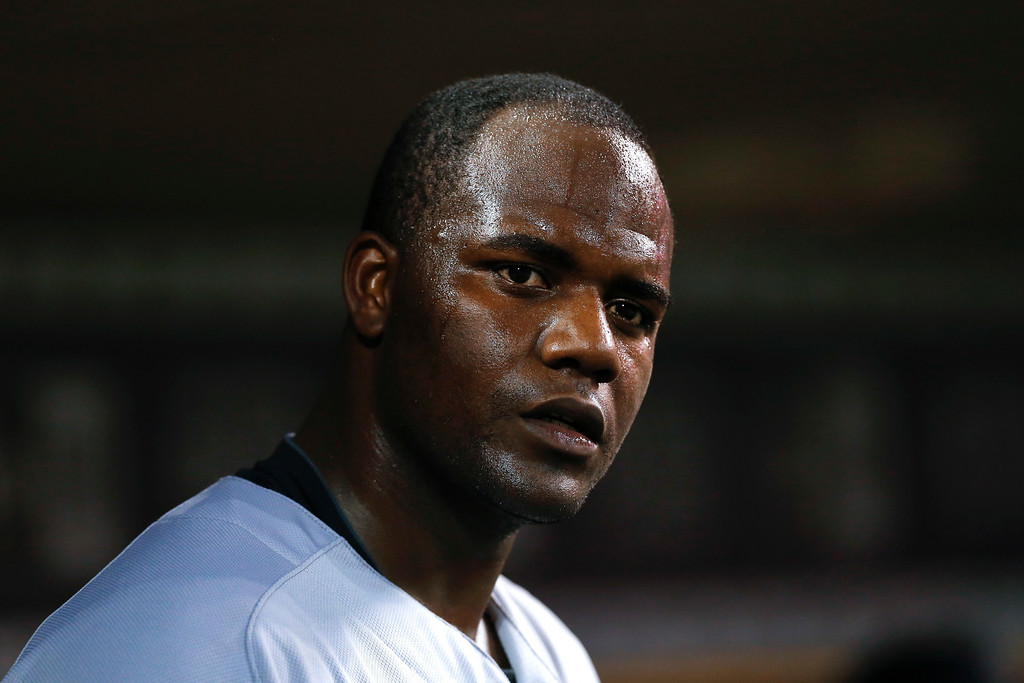 . New York Yankees pitcher Michael Pineda watches from the dugout after being relieved during the sixth inning against the Detroit Tigers in a baseball game in Detroit, Thursday, June 2, 2016. (AP Photo/Paul Sancya)