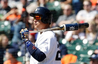 . Detroit Tigers\' Miguel Cabrera waits to bat during the first inning of a baseball game against the Minnesota Twins, Wednesday, April 12, 2017, in Detroit. (AP Photo/Carlos Osorio)