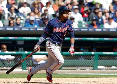 . Minnesota Twins\' Jorge Polanco bats during the third inning of a baseball game against the Detroit Tigers, Wednesday, April 12, 2017, in Detroit. (AP Photo/Carlos Osorio)