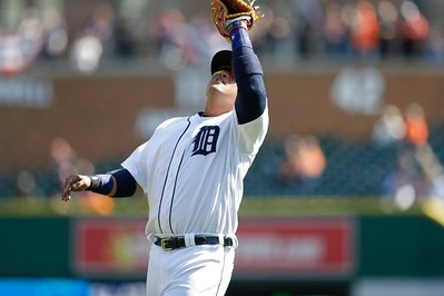 . Detroit Tigers first baseman Miguel Cabrera catches a popup during the eighth inning of a baseball game against the Minnesota Twins, Wednesday, April 12, 2017, in Detroit. (AP Photo/Carlos Osorio)