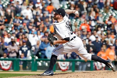 . Detroit Tigers relief pitcher Alex Wilson throws during the ninth inning of a baseball game against the Minnesota Twins, Wednesday, April 12, 2017, in Detroit. (AP Photo/Carlos Osorio)