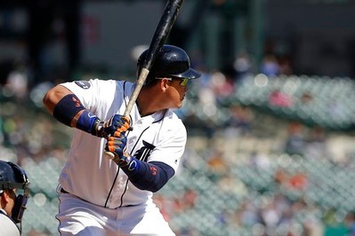 . Detroit Tigers\' Miguel Cabrera bats during the seventh inning of a baseball game against the Minnesota Twins, Wednesday, April 12, 2017, in Detroit. (AP Photo/Carlos Osorio)