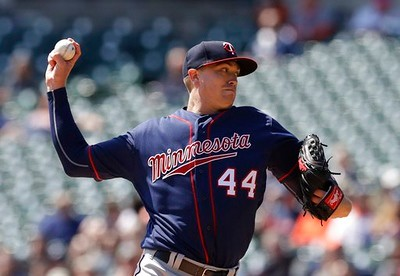 . Minnesota Twins starting pitcher Kyle Gibson throws during the first inning of a baseball game against the Detroit Tigers, Wednesday, April 12, 2017, in Detroit. (AP Photo/Carlos Osorio)