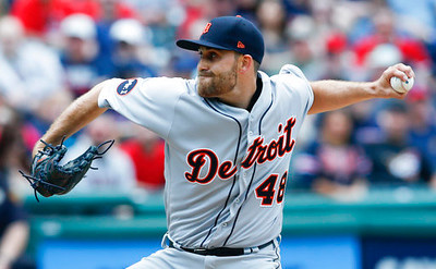 . Detroit Tigers starting pitcher Matt Boyd delivers against the Cleveland Indians during the second inning in a baseball game, Sunday, April 16, 2017, in Cleveland. (AP Photo/Ron Schwane)