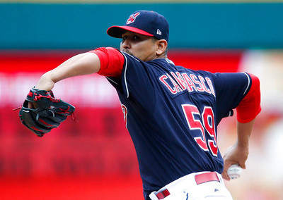 . Cleveland Indians starting pitcher Carlos Carrasco delivers against the Detroit Tigers during the first inning in a baseball game, Sunday, April 16, 2017, in Cleveland. (AP Photo/Ron Schwane)