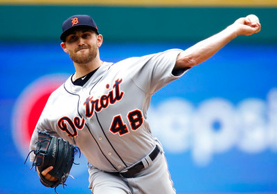 . Detroit Tigers starting pitcher Matt Boyd delivers against the Cleveland Indians during the first inning in a baseball game, Sunday, April 16, 2017, in Cleveland. (AP Photo/Ron Schwane)