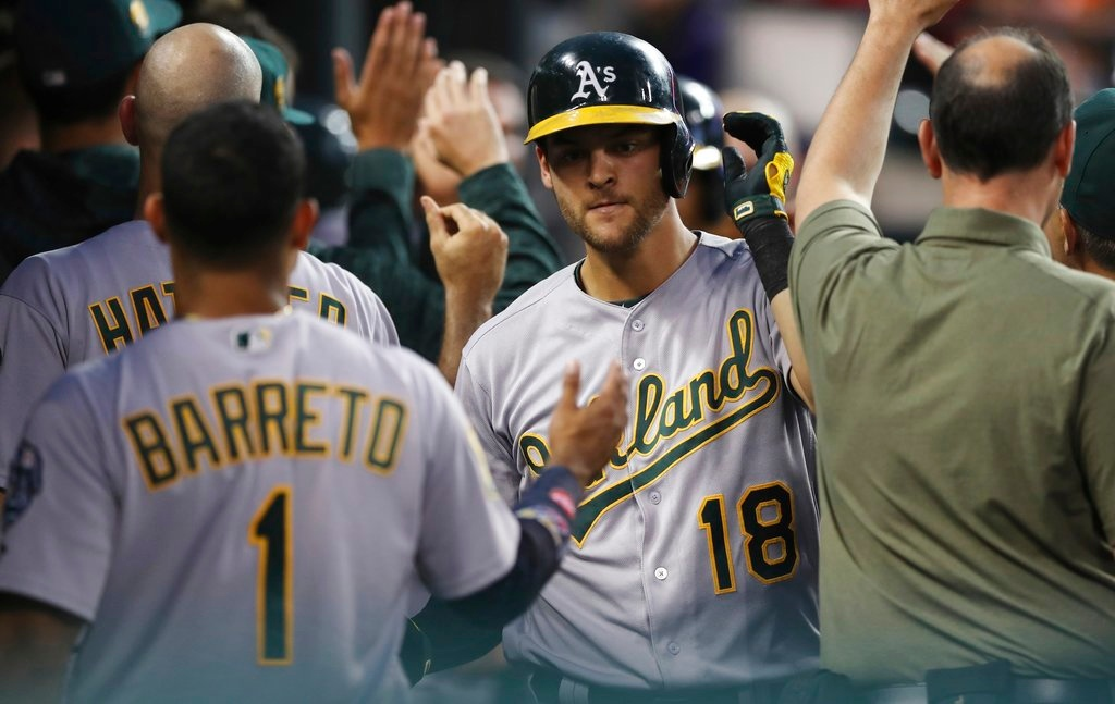 . Oakland Athletics\' Chad Pinder is greeted by teammates after hitting a two-run home run during the fifth inning of a baseball game against the Detroit Tigers, Tuesday, June 26, 2018, in Detroit. (AP Photo/Carlos Osorio)
