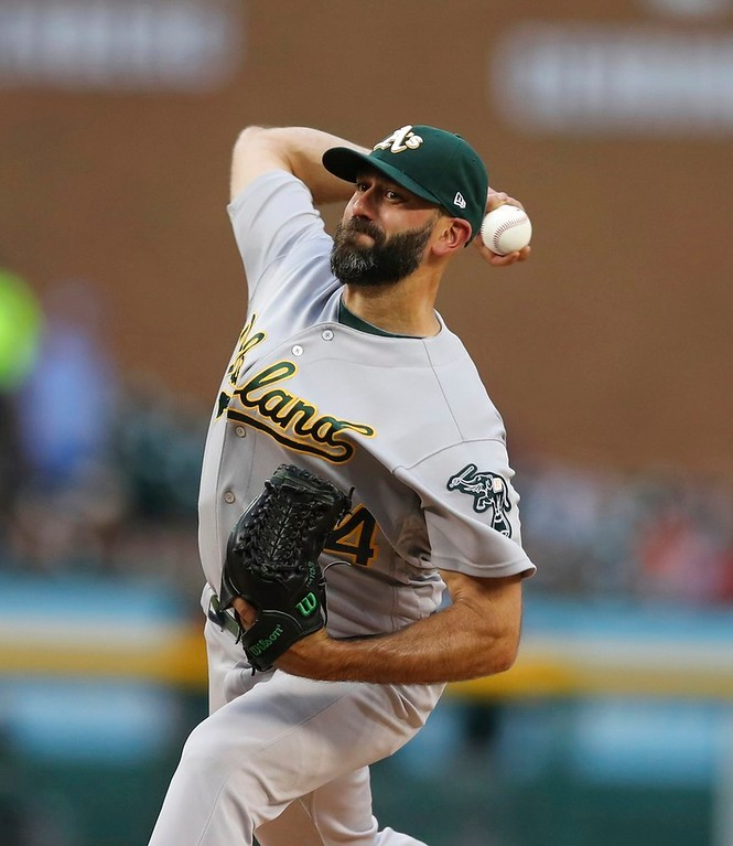 . Oakland Athletics relief pitcher Chris Hatcher throws during the fifth inning of a baseball game against the Detroit Tigers, Tuesday, June 26, 2018, in Detroit. (AP Photo/Carlos Osorio)