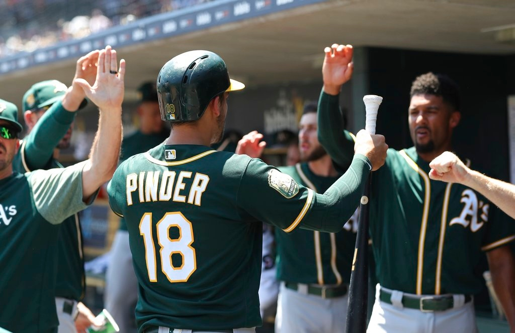 . Oakland Athletics\' Chad Pinder is greeted in the dugout after scoring during the third inning of a baseball game against the Detroit Tigers, Thursday, June 28, 2018, in Detroit. (AP Photo/Carlos Osorio)