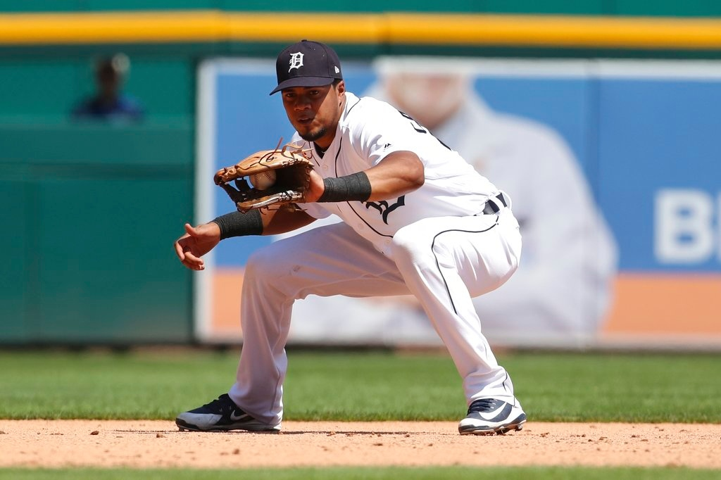 . Detroit Tigers third baseman Jeimer Candelario fields a grounder during the ninth inning of a baseball game against the Oakland Athletics, Thursday, June 28, 2018, in Detroit. (AP Photo/Carlos Osorio)