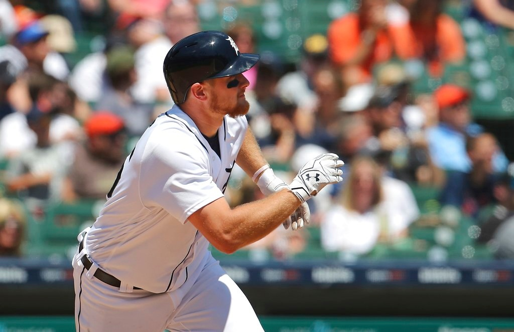 . Detroit Tigers\' John Hicks watches his double to center field during the fourth inning of a baseball game against the Oakland Athletics, Thursday, June 28, 2018, in Detroit. (AP Photo/Carlos Osorio)