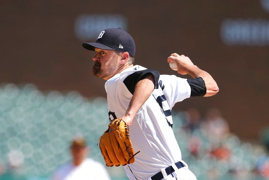 . Detroit Tigers relief pitcher Louis Coleman throws during the ninth inning of a baseball game against the Oakland Athletics, Thursday, June 28, 2018, in Detroit. (AP Photo/Carlos Osorio)