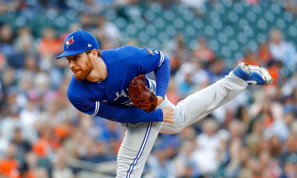 . Toronto Blue Jays relief pitcher Danny Barnes throws against the Detroit Tigers in the second inning of a baseball game in Detroit, Friday, June 1, 2018. (AP Photo/Paul Sancya)