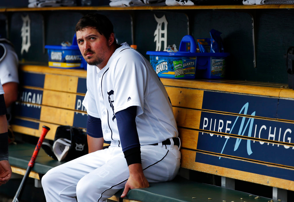 . Detroit Tigers pitcher Blaine Hardy watches from the dugout in the first inning of a baseball game against the Toronto Blue Jays in Detroit, Friday, June 1, 2018. (AP Photo/Paul Sancya)