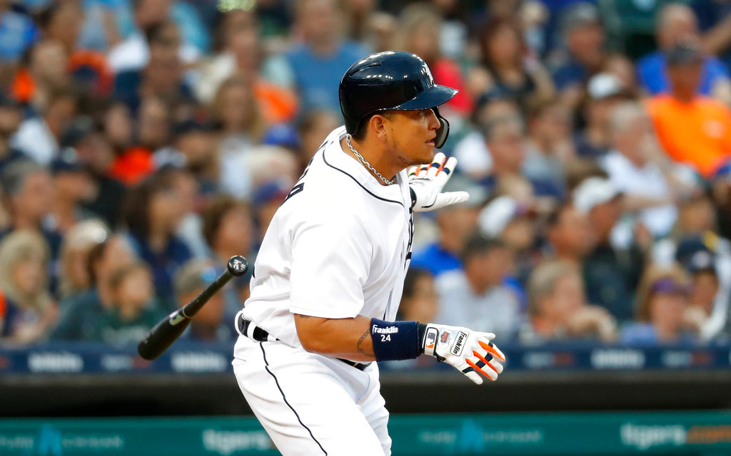 . Detroit Tigers first baseman Miguel Cabrera singles in the fifth inning of a baseball game against the Toronto Blue Jays in Detroit, Friday, June 1, 2018. (AP Photo/Paul Sancya)