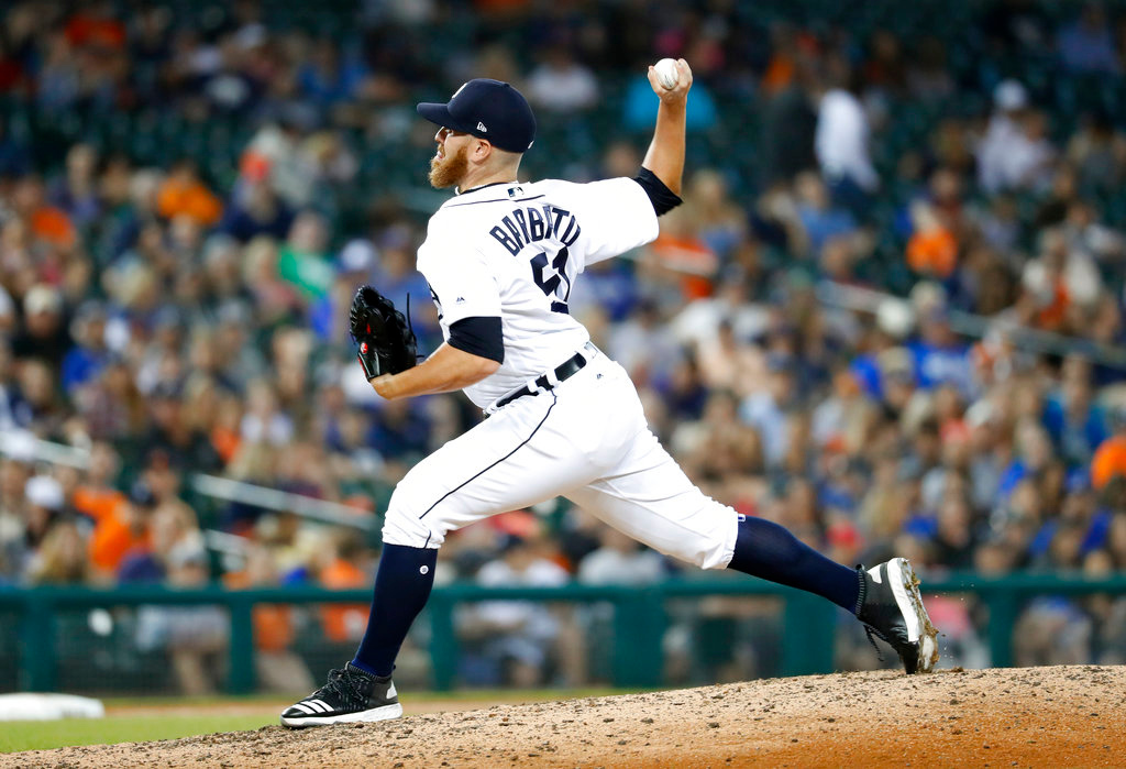 . Detroit Tigers relief pitcher Johnny Barbato throws in the eighth inning of a baseball game against the Toronto Blue Jays in Detroit, Friday, June 1, 2018. (AP Photo/Paul Sancya)