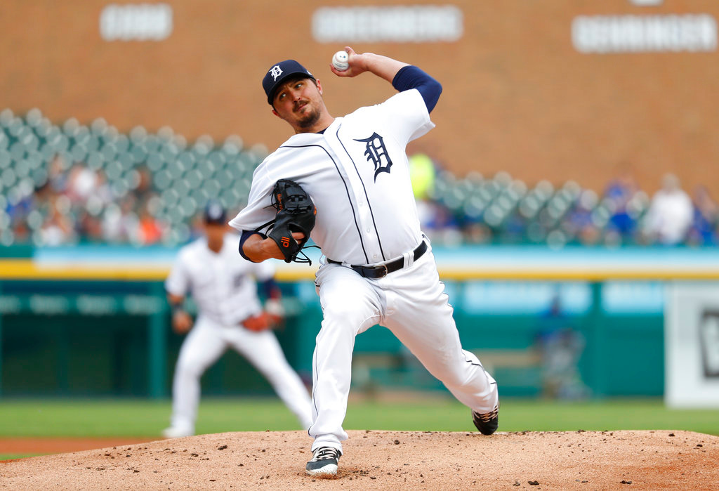 . Detroit Tigers pitcher Blaine Hardy throws against the Toronto Blue Jays in the first inning of a baseball game in Detroit, Friday, June 1, 2018. (AP Photo/Paul Sancya)
