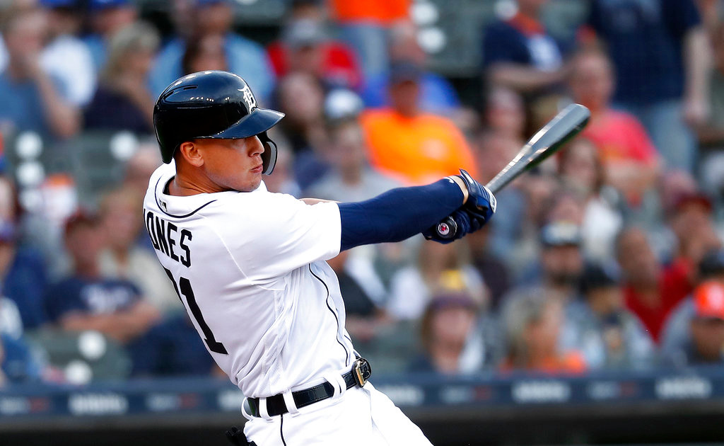 . Detroit Tigers\' JaCoby Jones hits a two-run triple in the second inning of a baseball game against the Toronto Blue Jays in Detroit, Friday, June 1, 2018. (AP Photo/Paul Sancya)