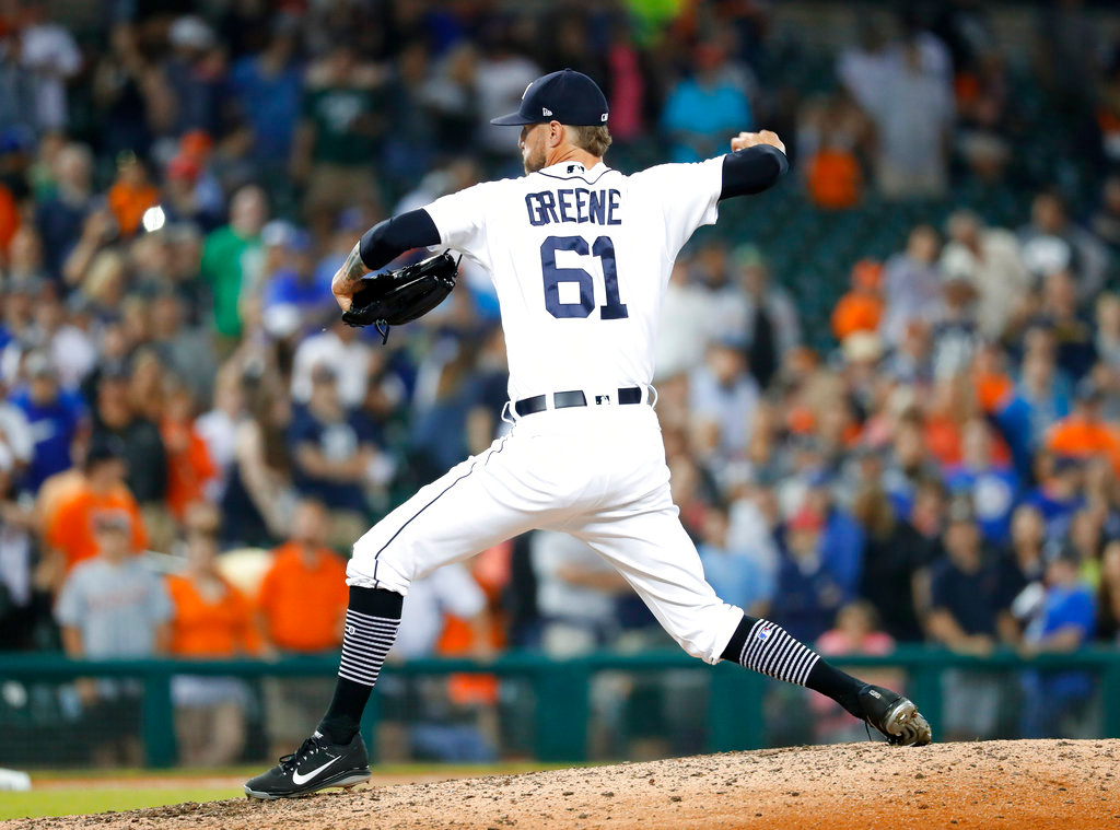 . Detroit Tigers relief pitcher Shane Greene throws in the ninth inning of a baseball game against the Toronto Blue Jays in Detroit, Friday, June 1, 2018. Detroit won 5-2. (AP Photo/Paul Sancya)