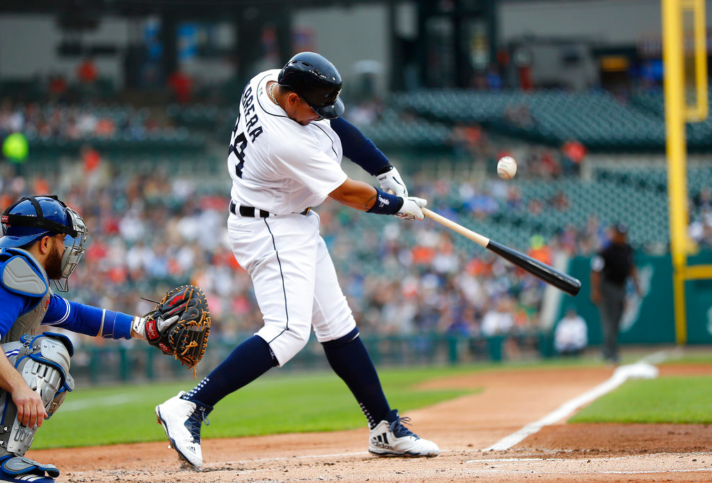 . Detroit Tigers first baseman Miguel Cabrera bats against the Toronto Blue Jays in the first inning of a baseball game in Detroit, Friday, June 1, 2018. (AP Photo/Paul Sancya)