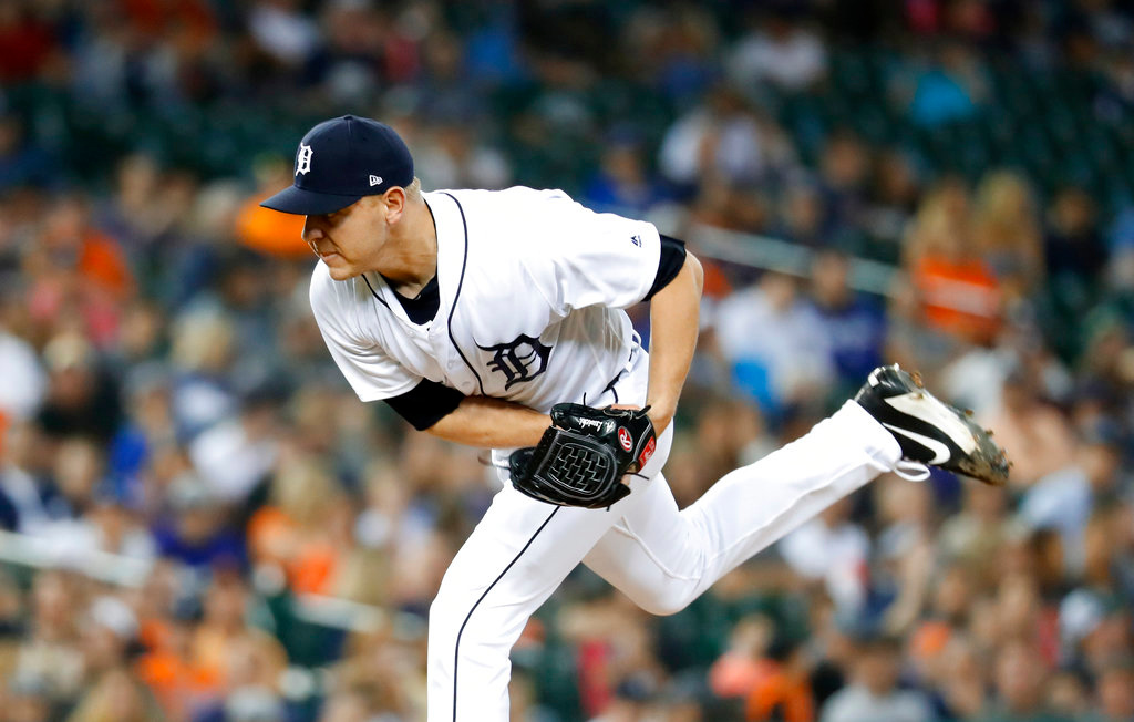 . Detroit Tigers relief pitcher Artie Lewicki throws against the Toronto Blue Jays in the eighth inning of a baseball game in Detroit, Friday, June 1, 2018. (AP Photo/Paul Sancya)