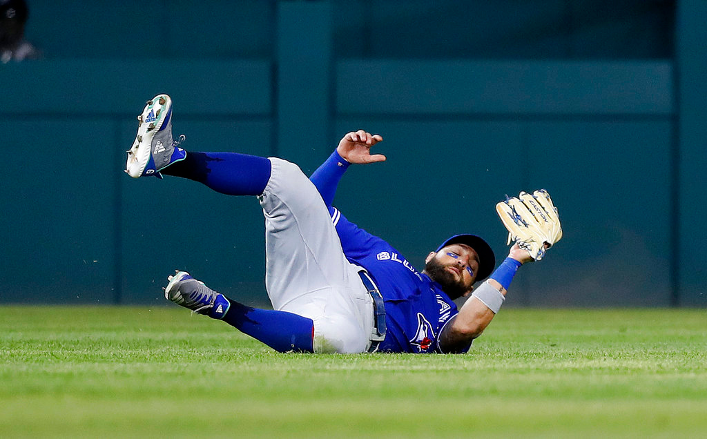 . Toronto Blue Jays center fielder Kevin Pillar catches a Detroit Tigers Ronny Rodriguez fly ball in the sixth inning of a baseball game in Detroit, Friday, June 1, 2018. (AP Photo/Paul Sancya)