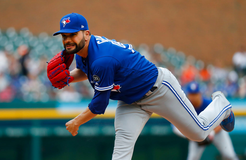 . Toronto Blue Jays pitcher Jaime Garcia throws against the Detroit Tigers in the first inning of a baseball game in Detroit, Friday, June 1, 2018. (AP Photo/Paul Sancya)