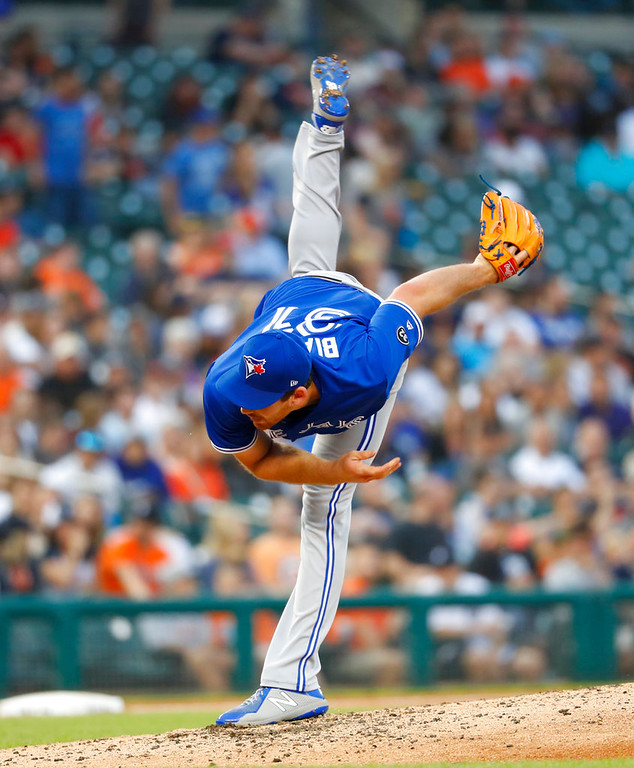 . Toronto Blue Jays relief pitcher Joe Biagini throws in the fifth inning of a baseball game against the Detroit Tigers in Detroit, Friday, June 1, 2018. (AP Photo/Paul Sancya)