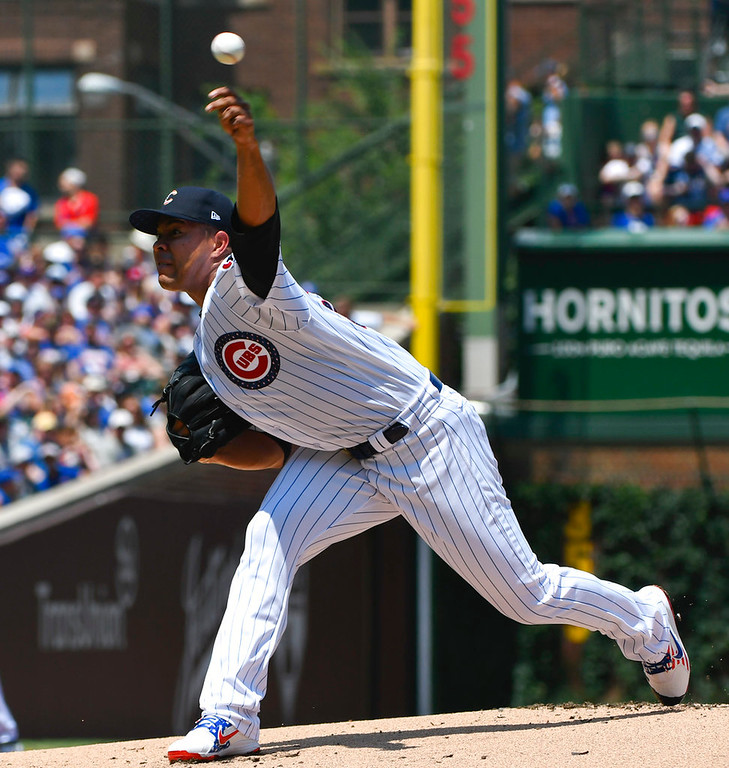 . Chicago Cubs starting pitcher Jose Quintana delivers during the first inning of a baseball game against the Detroit Tigers on Wednesday, July 4, 2018, in Chicago. (AP Photo/Matt Marton)