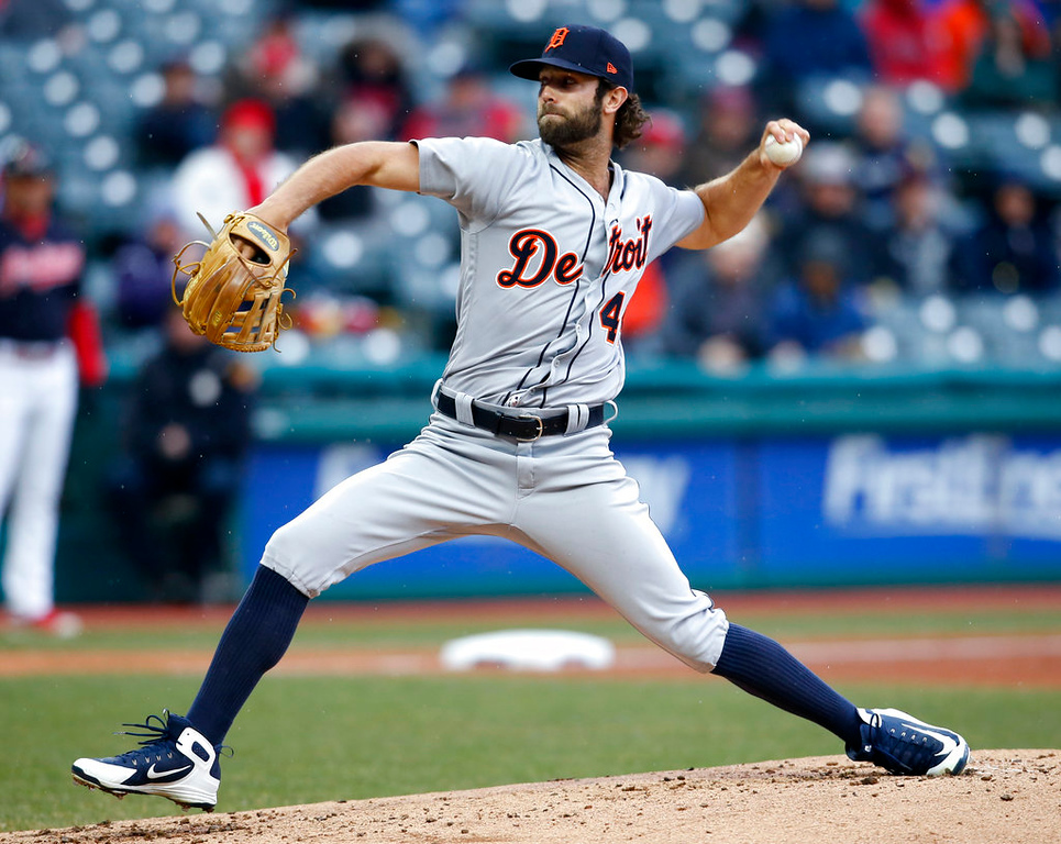 . Detroit Tigers pitcher Daniel Norris delivers against the Cleveland Indians during the first inning in a baseball game, Wednesday, April 11, 2018, in Cleveland. Norris came on in relief of Jordan Zimmermann, who was hit by a ball of the bat of Indians\' Jason Kipnis. (AP Photo/Ron Schwane)