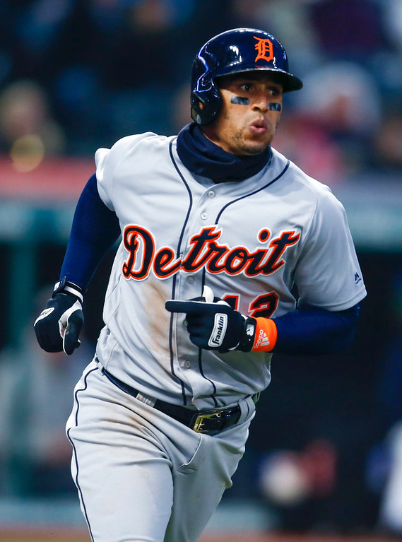 . Detroit Tigers\' Leonys Martin rounds the bases after hitting a solo home run off Cleveland Indians starting pitcher Carlos Carrasco during the sixth inning in a baseball game Wednesday, April 11, 2018, in Cleveland. (AP Photo/Ron Schwane)