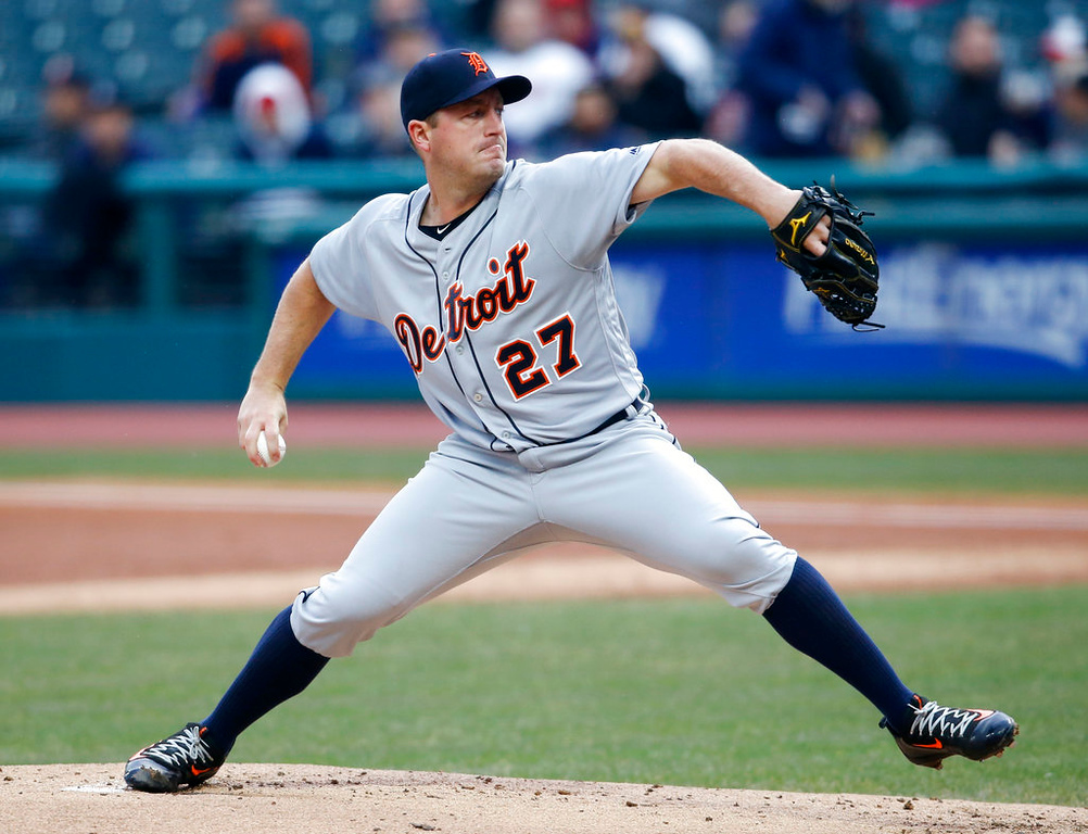 . Detroit Tigers starting pitcher Jordan Zimmermann delivers against the Cleveland Indians during the first inning in a baseball game, Wednesday, April 11, 2018, in Cleveland. (AP Photo/Ron Schwane)
