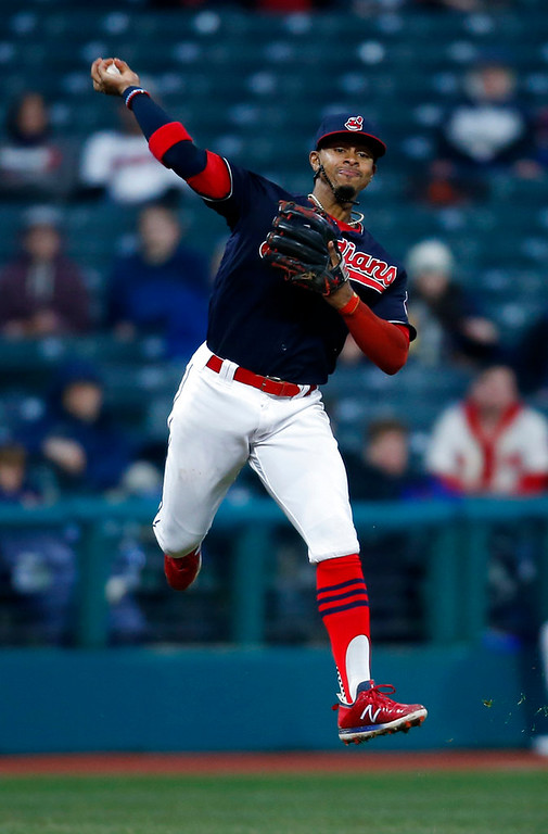 . Cleveland Indians\' Francisco Lindor throws out Detroit Tigers\' Miguel Cabrera at first base during the seventh inning in a baseball game Wednesday, April 11, 2018, in Cleveland. (AP Photo/Ron Schwane)